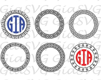 Abstract Monogram Circle Frames SVG, ready to cut files for Cricut, Silhouette etc, also in ong, eps & DXF format