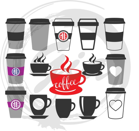 Coffee Cup Svg Bundle  Coffee Mug  Cup and Saucer  Tea Cup Svg  Coffee Lover  Cricut  Silhouette  Commercial Use  Svg PNG DXF Pdf