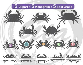 Crabs SVG clipart, crab monogram frames, split crabs svg, ready to cut files for Cricut, Silhouette etc, also in png, eps & DXF format