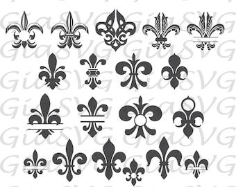 Fleur De Lis SVG, fleur de lis monogram, fleur de lis clipart svg, ready to cut files for Cricut, Silhouette etc, also in png, eps & DXF