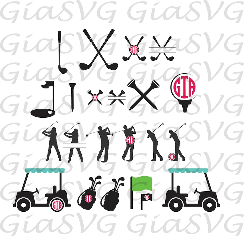 Download Golf Monogram SVG golf split svg golf clipart svg ready to ...
