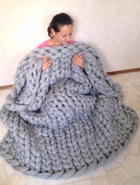 Sale Chunky Knit Blanket Chunky Knit Throw Merino Wool Etsy
