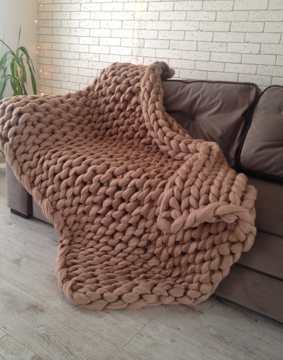 Chunky Knit Blanket Chunky Knit Throw Merino Wool Blanket Etsy