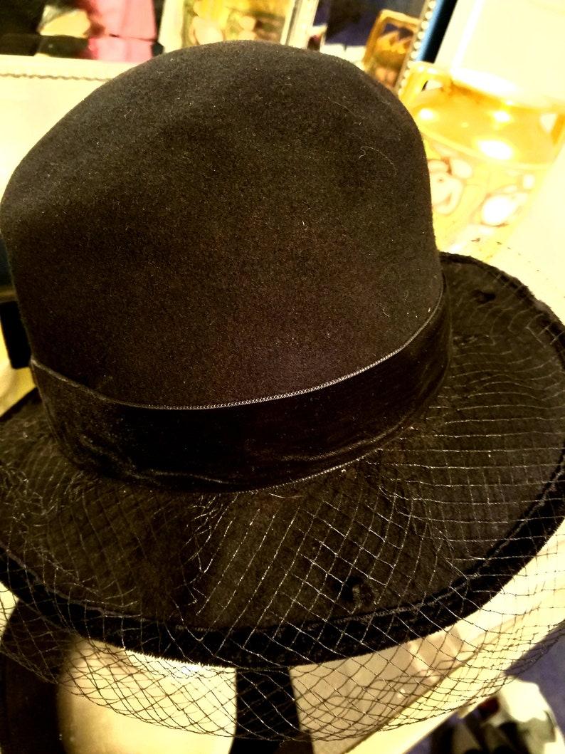 Greta Garbo Vintage Fedora Hat with Velvet Bow  092e4ae4aa6
