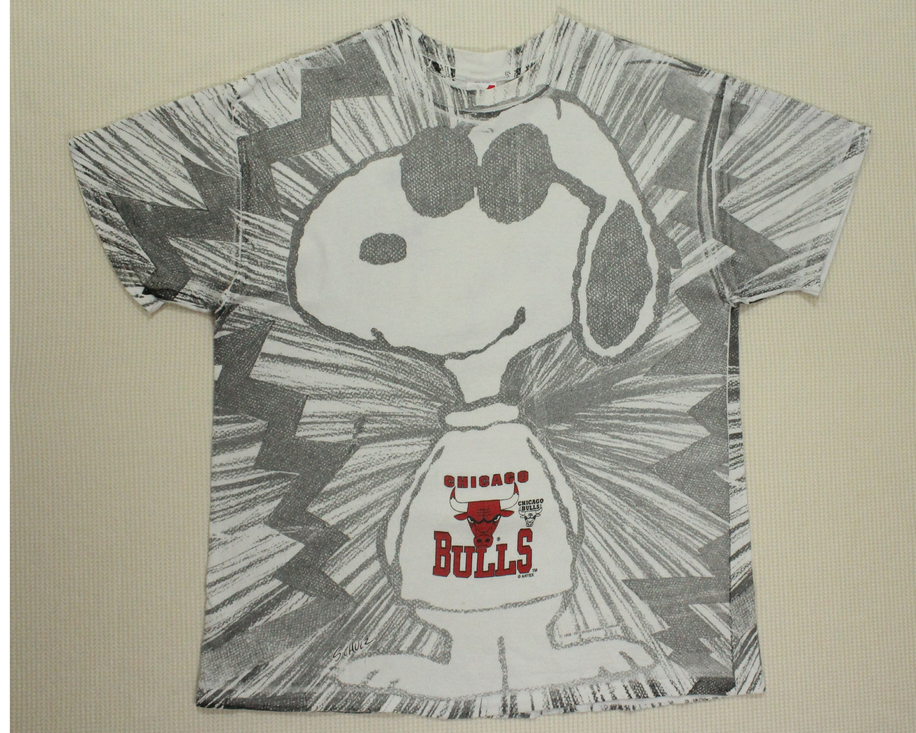 Bulls Printed Full T Chicago Grunge X Distressed Snoopy Shirt Vintage kXTlOZiuwP