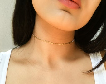 Gold / Silver Chain Choker Necklace, Simple Thin Choker, Layering Necklace, Multiple Lengths, Chain Necklace, Thin Necklace