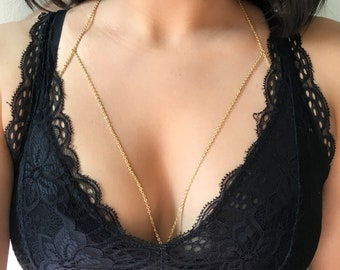 Single Layer Chain Bralette Body Chain in Stainless Steel - Gold or Silver