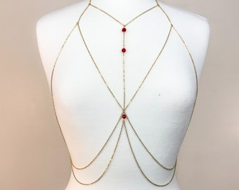 Red Glass Beaded Gold Chain Bralette Body Chain