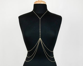 Stainless Steel Triple Tier Layered Body Chain (Gold or Silver)