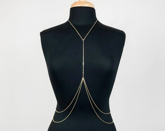 Stainless Steel Double Tier Layered Body Chain (Gold or Silver)