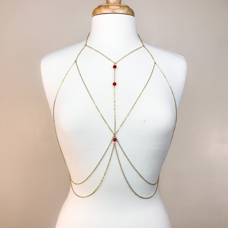 f08b17419b7 Gemstone Gold Chain Bra Body Chain Body Harness Chain