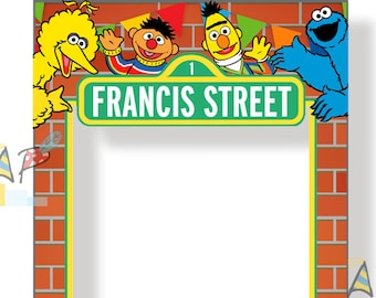 Sesame Street photo booth frame. Personalized DIY Digital file/Printable.