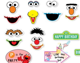 Sesame Street photo booth props. DIY Digital file/Printable.