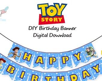 Toy Story Happy Birthday Banner DIY Printable PDF