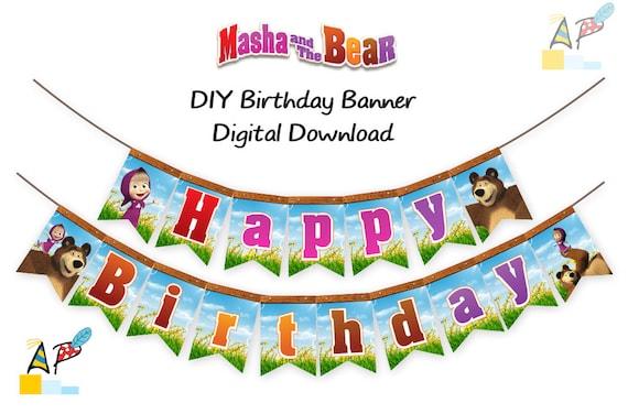 Masha And The Bear Happy Birthday Banner Diy Printable Pdf Etsy