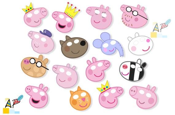 Peppa Pig Masks Photo Booth Props Diy Digital Etsy