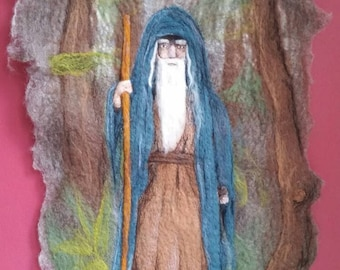 Needle felted wall hanging, Merlin, myths and legends