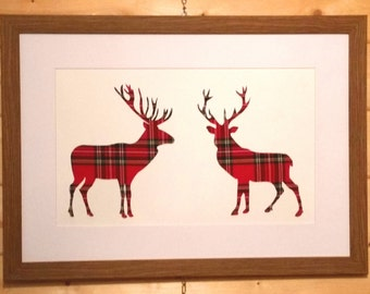 """Scottish Art """"Face Off"""" Stag Picture with Red Tartan"""