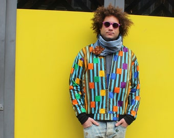 African Print Jacket Bomber in Wax Wax Bomber Jacket Mens African Jacket Patterned Jacket Festival clothing Ankara Jacket Colourful jacket