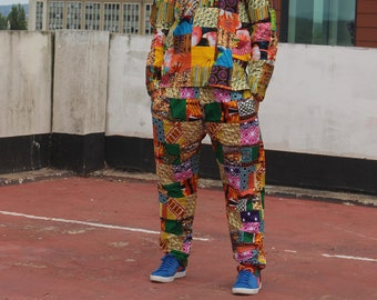 CONTINENT CLOTHING Patchwork Pants / Crazy Trousers / Crazy Patterned Aztec Festival Pants / Tracksuit Style Pants with Pockets