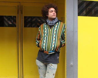 African Bomber Jacket Blue and Green Kente Print