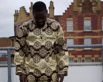 CONTINENT CLOTHING Brown Ankara Shirt / African Print Shirt / Fresh Prince Aztec Boho Festival Ethical Sustainable Crazy Shirt