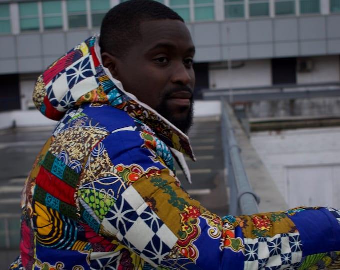 Featured listing image: Retro Puffer Jacket / Patchwork Puffer Jacket / Patchwork Down Coat Aztec Crazy Unisex Fresh Prince Jacket CONTINENT CLOTHING