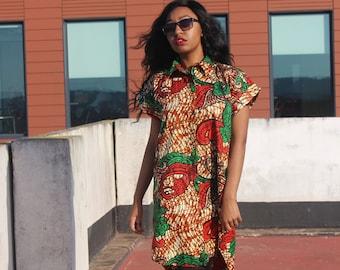 Ankara Dress African Shirt Dress Boho Dress Colourful Dress Continent Clothing