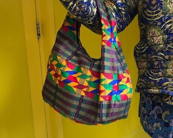 Afircan Handbag African Print Handbag Kente Handbag Ankara Bag Wax Print Handbag Top Handle Summer Bag Festival Bag