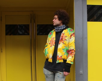 African Bomber Jacket Yellow Ankara Print