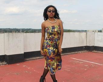 Gold Dress African Dress African Print Dress Ankara Dress African Clothing For Women Festival Clothing Boho Dress Ethnic Dress Ethical