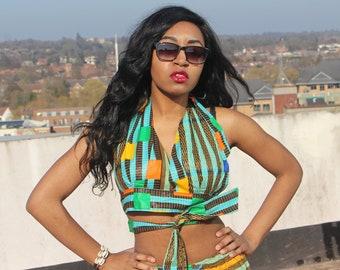 African Print Bikini Ankara Bikini Patchwork Crop Top Festival Crop top Ankara Bra Top Ankara Crop Top