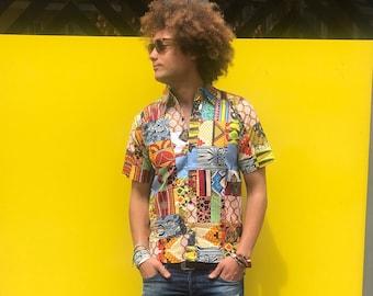 African Shirt Patchwork Shirt Ankara Shirt Mens African Fashion Wax Print Shirt African Clothing Festival Clothing Festival Shirt
