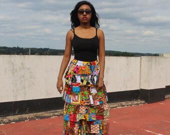 Patchwork Skirt African Skirt Ankara Skirt Rah Rah Skirt Ethical Clothing Bohemian Clothing Ethnic Skirt Boho Clothing Festival Skirt