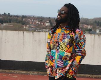 African Patchwork Shirt Ankara Print Shirt Festival Shirt African Clothing Boho Clothing
