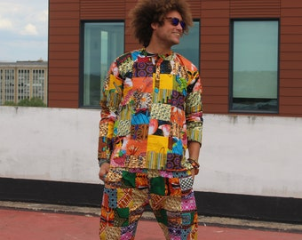 Patchwork Suit Ankara Suit Festival Clothing African Print Patchwork Shirt African Clothing Mens Two Piece Festival Suit Patchwork Trousers