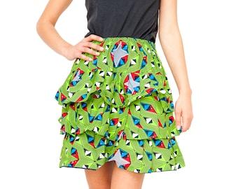 African Skirt Ankara Skirt African Rah Rah Skirt Ethical Clothing Bohemian Clothing Ethnic Skirt Layered Skirt Summer Skirt Festival Skirt