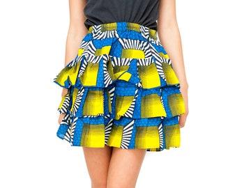 Boho Skirt African Skirt Ankara Skirt African Rah Rah Skirt Ethical Clothing Ethnic Skirt Layered Skirt Summer Skirt Festival Skirt