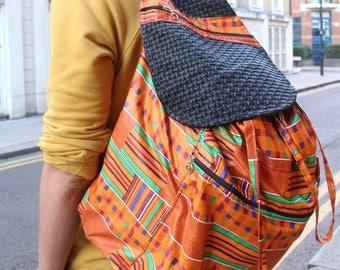 Kente BackPack - Kente bag - African BackPack - Funky Rucksack - College Bag - African Bag - African Rucksack - Mens Festval Bag
