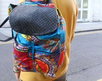 African Backpack - African Rucksack - Funky Rucksack - Tribal Bag - African Bag - Dashiki Bag - Mens Festival Bag- College Backpack