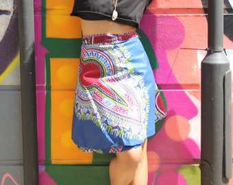African Wrap Skirt African Print Skirt Dashiki Wrap Skirt Wax Print Skirt Colourful Wrap Skirt Beach Wrap Skirt CONTINENT CLOTHING