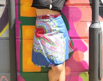 African Wrap Skirt Midi - African Print Skirt - Dashiki Wrap - Wax Print Skirt - Colourful Wrap Skirt - Festival Skirt - Dashiki Skirt