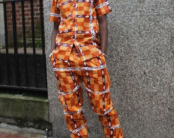 African Clothing Mens African Print Trousers Kente Pants African Matching Suit In Wax Print Trousers Ankara Trackies Festival Clothing