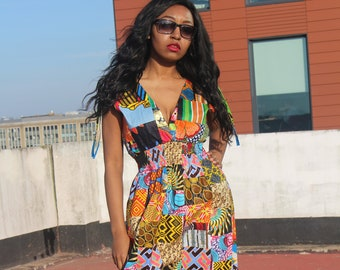 Patchwork Dress African Dress African Print Maxi Dress Ankara Print Dress African Clothing Boho Style Dress