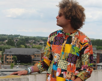 African Top Patchwork Shirt African Shirt Kente Shirt Festival Shirt 90s Clothing Boho Clothing Funky Shirt African Clothing Mens Shirt
