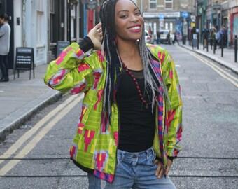 African Jacket - Wax Bomber - Metallic jacket - Gold jacket - Shiny Jacket - Glitter Jacket - Festival Jacket - Wax Bomber - Metallic Jacket