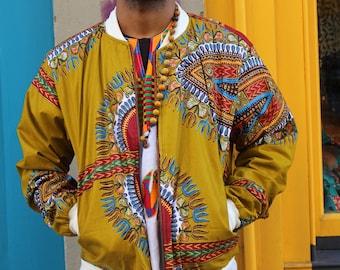Dashiki Jacket- Wax Bomber - Bomber In Wax - African Print Bomber -Dashiki Bomber jacket -African Clothing-Festival Clothing - Winter Jacket