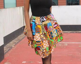 Patchwork Skirt African Skirt Ankara Skirt Rah Rah Skirt Ethical Clothing Bohemian Clothing Ethnic Skirt Layered Skirt Festival Skirt