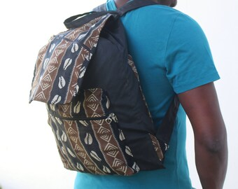 African print BackPack Kente Bag African BackPack College Rucksack Festival Bag African Bag - African Rucksack Drawstring BackPack
