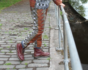CONTINENT CLOTHING Colourful Pants / Crazy Trousers / Crazy Patterned Aztec Festival Pants / Tracksuit Style Pants with Pockets